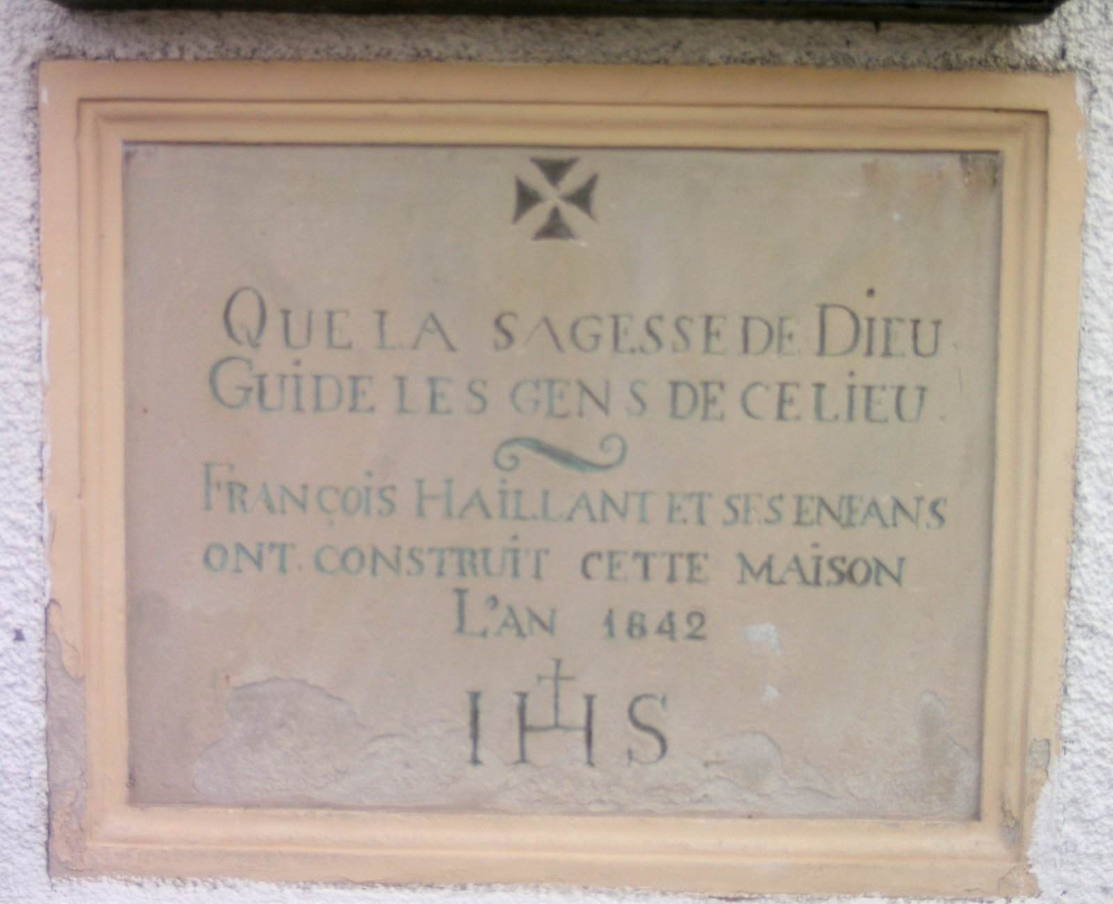 Pierre de fondation Nicolas François HAILLANT