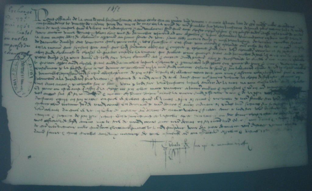 Acte du 22 mai 1452