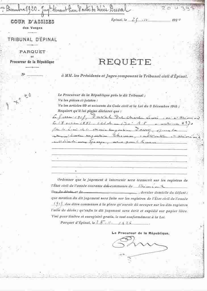 Jugement décès Louis DUVAL