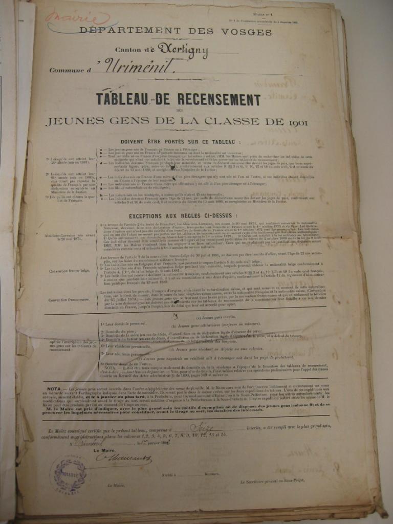 Recensement 1901 page 1
